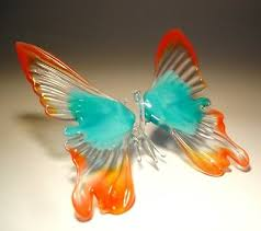 blown glass art figurine red and blue hanging erfly ornament