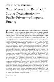 What Makes Lord Byron Go? Strong Determinations-Public/Private-of Imperial  Errancy