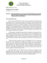 Draft Irr Food Safety Act Food Safety Foods