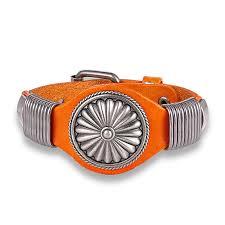 cool orange leather bracelet for men handmade with orange leather and vintage steel wide