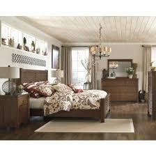 bedroom set main: chimerin collection five piece burnished oak finish queen poster bedroom set main image