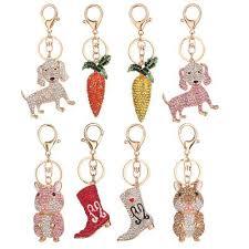 <b>8 Styles</b> Keychain Rhinestone Bag <b>Car Key</b> Ring Keyring Women ...