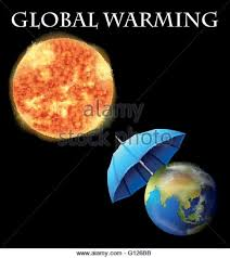 Global warming theme with earth and umbrella illustration  Stock Image