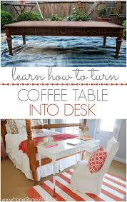 how to turn a second hand coffee table into a desk