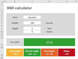 Bmi Calculator In Excel Easy Excel Tutorial