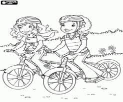 Kleurplaat Holly En Carrie Met Mountainbikes Kleurplaten