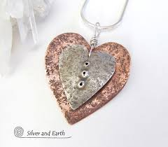 nesting heart necklace with sterling silver copper romantic gifts silver and earth