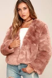 somedays lovin the giver mauve faux fur coat