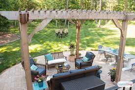 paver patio with pergola. See How We Transformed Our Boring Back Yard With The Addition Of A Paver Patio And Pergola C
