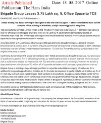 office space names. Brigade Group Leases 3.75 Lakh Sq.ft. Office Space To TCS\u2014The Hans Names A