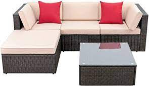 Devoko 5 Pieces Patio Furniture Sets All Weather Outdoor Sectional Sofa Manual Weaving Wicker Rattan Patio Conversation Set With Cushion And Glass Table Beige Furniture Decor