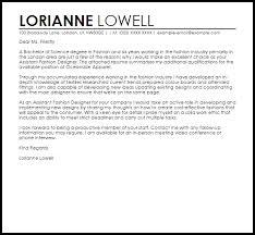 Sample Cover Letter For Fashion Internship Assistant Fashion Designer Cover Letter Sample Cover