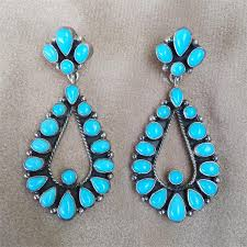 sleeping beauty turquoise teardrop chandelier post earrings in sterling silver by geneve apachito navajo