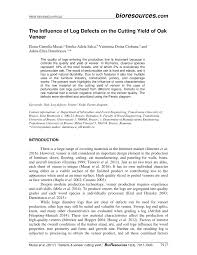 Pdf The Influence Of Log Defects On The Cutting Yield Of