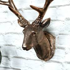 stag head wall decoration deer mount copper mounted for silver