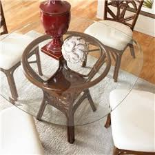 cancun palm indoor rattan wicker round dining table in tc antique finish with 42