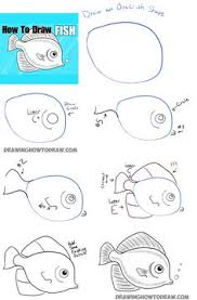 how to draw a cute fish cartoon with simple steps for kids
