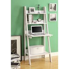 white 61 inch ladder bookcase drop down desk