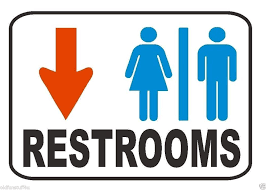 Bathroom sign with arrow Superhero Restroom Sign Male Female Down Arrow Safety Business Sign Male Female Bathroom Door Signs Bybdesigncom Restroom Sign Male Female Down Arrow Safety Business Sign Large