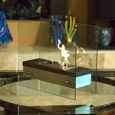 bluworld ardore tabletop fireplace tempered clear glass black heat resistant and brushed stainless steel