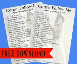 New Testament Reading Chart 2019 Come Follow Me New Testament Bookmark And Reading Chart
