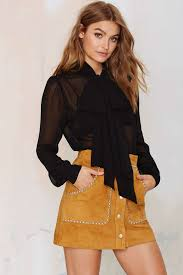 Nasty gal Marianne Pussy Bow Blouse Black in Black Lyst