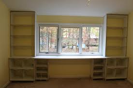 ... Stunning Bookshelves And Desk Built In Bookcase With Desk Attached  White Wooden Cabinet ...