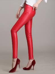 women s mid waist pu leather skinny pants