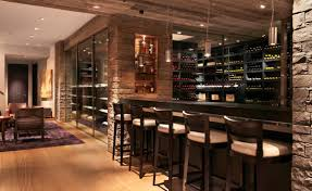 ... wonderful small modern home bar with compact stools also stone wall  design ...