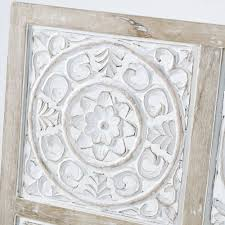 whitewashed carved mango wood wall art