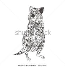 Small Picture Quokka Ethnic Floral Doodle Pattern Coloring Stock Vector