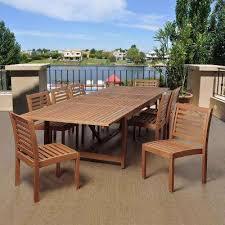 outdoor wood dining furniture. Turner 9-Piece Eucalyptus Extendable Rectangular Patio Dining Set Outdoor Wood Furniture S