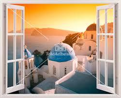 Kunststoff 3d Fenster Sonnenuntergang In Santorini Webwandtattoocom