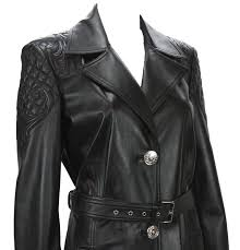 new versace 7725 quilted black soft leather women s trench coat with belt for 2