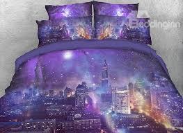 62 onlwe 3d night city under purple galaxy cotton 4 piece bedding sets duvet covers