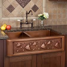 33 tuscan series 60 40 offset double bowl copper farmhouse sink