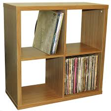 vinyl record storage furniture. CUBE - 4 Cubby Square Display Shelves / Vinyl LP Record Storage Oak Furniture