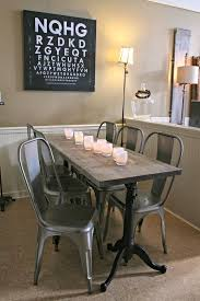 minimalist gray walnut wood dining table with 3 leg prong table based  combined with silver acrylic chairs. Awesome Narrow Dining Room Table For Small  Dining ...