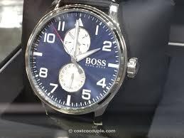 watch hugo boss men s sport aeroliner black leather watch