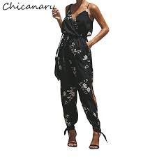 chicanary 2019 summer bohemian fl print cotton rompers womens jumpsuit streetwear split one piece jumpsuits overalls