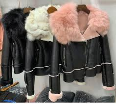 2019 women faux leather jacket short coat with real big fox fur collar fur lined suede er cropped jacket motorbiker pink black from tutucloth