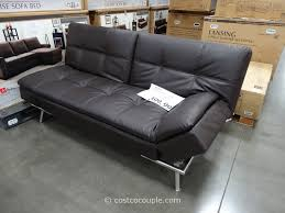 deluxe dark futon costco leather couches sofa bed with nice polished base legs best standing