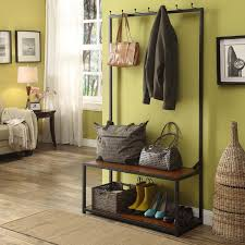 Wooden Coat Rack With Bench Mudroom Gorgeous Entry Way Coat Rack Bench Strudy Black Metal 80