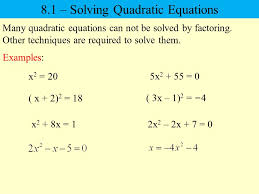 8 1 solving quadratic equations