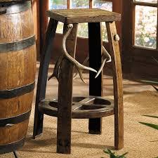 antler barrel bar stool
