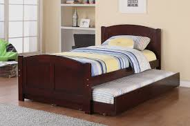 Amazon.com: Twin Bed with Trundle in Cherry Wood by Poundex: Kitchen &  Dining