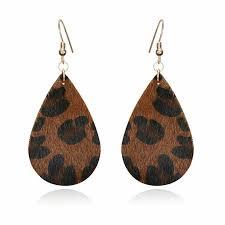 details about handmade leopard leather earrings boho teardrop dangle ear stud jewelry women