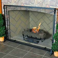 pilgrim forged iron fireplace screen matte black 44 x 33