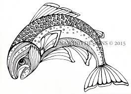 trout fish river artwork coloring book nursery design children art zentangle printable instant digital coloring page