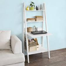 Haotian Wood Modern Ladder Bookcasebook Shelffree Stand Shelf With Memo Boardwall Shelf Deskwhitefrg115 W